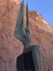 Art deco statues outside the Hoover Dam.