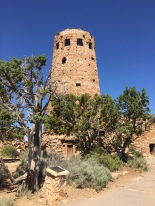 Yes, it's the Indian Watchtower at Desert View, a 70-foot-high stone building located on the South Rim of the Grand Canyon