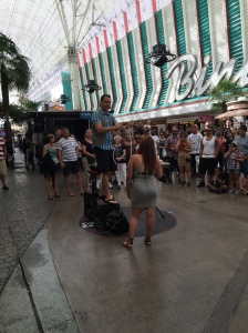 Fremont Street. Could be fun for adults, but for kids...?